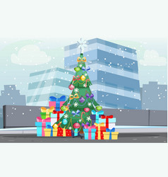 christmas winter cityscape fir tree and gifts vector image