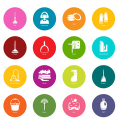 cleaning tools icons set colorful circles vector image