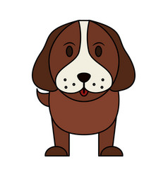 Color image cartoon front view dog animal vector