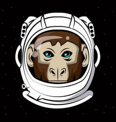 Cool monkey on astronaut helmet print for t shirt vector