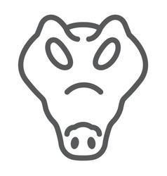 crocodile line icon animal and zoo reptile sign vector image
