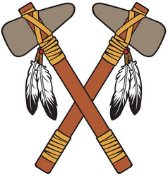 Crossed native american tomahawk vector