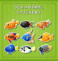 Cute cartoon sea animals on sticker vector