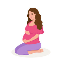 cute happy pregnant woman isolated on white vector image