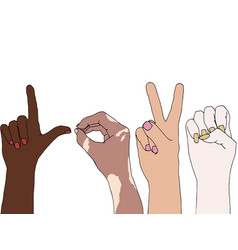 Different skin people raising their hands vector