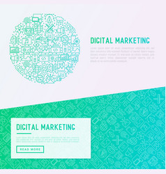 digital marketing concept in circle vector image