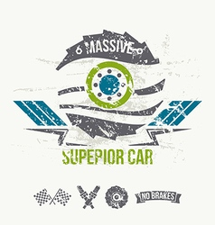 Emblem of the massive superior car in retro style vector