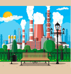 factory building and city park vector image