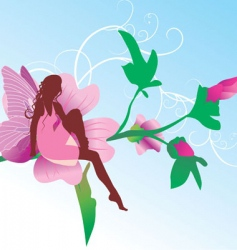 Fairy on pink flower sitting vector