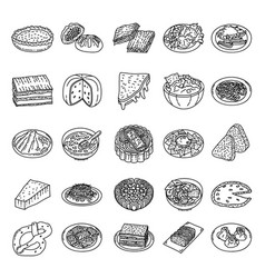 Famous foods set icon doodle hand drawn or vector