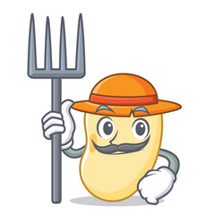 Farmer soy bean character cartoon vector