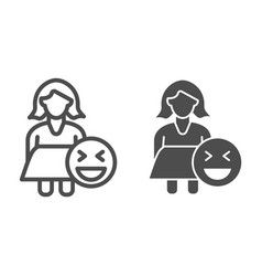 Fat woman and emoji line and glyph icon obese vector