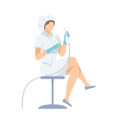 female medical worker in white robe with equipment vector image