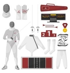 Fencing sport equipment set vector