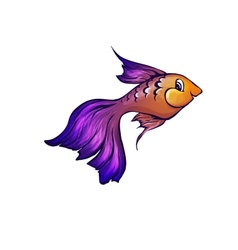 fish in cartoon style vector image