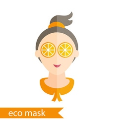Flat design of a girl with mask of orange on her vector
