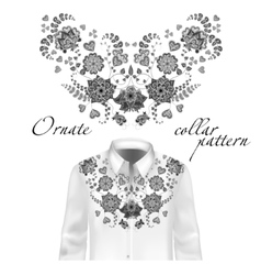 Floral curl neck embroidery for blouses vector