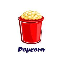 Fresh popped cartoon takeaway popcorn vector