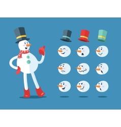 Funny snowman Cartoon set vector