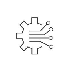 Gear circuit digital technology icon line design vector