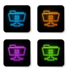 Glowing neon ftp cancel operation icon on white vector