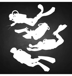 Graphic set of scuba divers silhouettes vector image