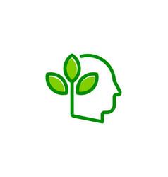 green human head logo icon design vector image