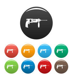 Hammer drill icons set color vector