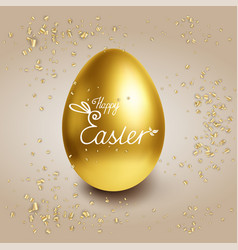 happy easter background with golden egg and vector image