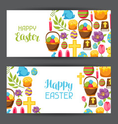 happy easter banners with decorative objects eggs vector image