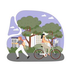happy female characters riding bicycle and running vector image