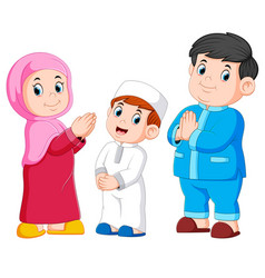 happy moslem family vector image