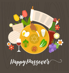 happy passover with seder plate vector image