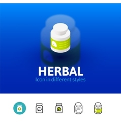 Herbal icon in different style vector image