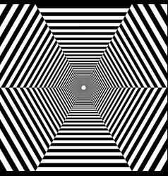hexagonal striped tunnel out into the distance vector image