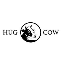 hug cow logo cow with man cow vector image