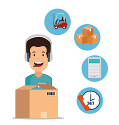 logistic services with support agent vector image