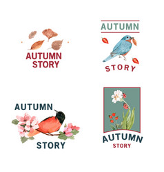 Logo with autumn forest and animals concept vector