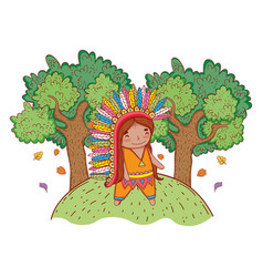 Man indigenous with trees and autumn leaves vector