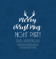merry christmas night party blue snowflake vector image