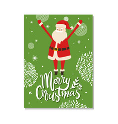 merry christmas postcard with santa claus winter vector image