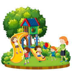 mother and children at playground vector image
