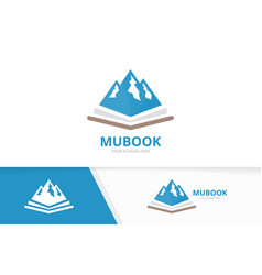 mountain and open book logo combination vector image