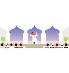muslim wedding ceremony newlyweds and their vector image