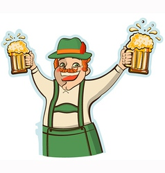 oktoberfest man with glasses of beer isolate vector image