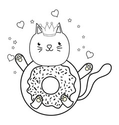 Outline kawaii cute cat donut with hearts and vector