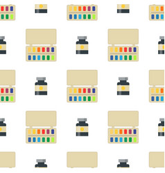 Painting art tools palette seamless pattern flat vector
