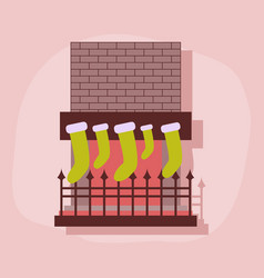 Paper sticker on stylish background fireplace vector