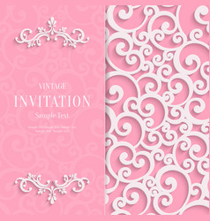 pink 3d vintage invitation card with swirl vector image
