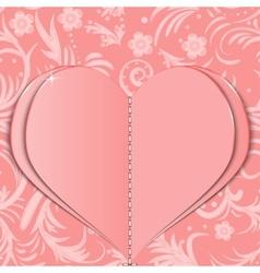Pink paper heart vector image